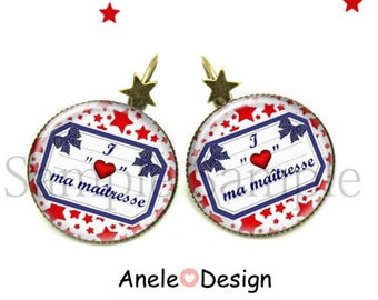 Earrings gift for the mistress-red blue star pupil school