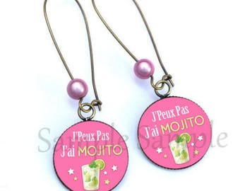 Earrings green stars pink mojito cocktail tassel heart bead