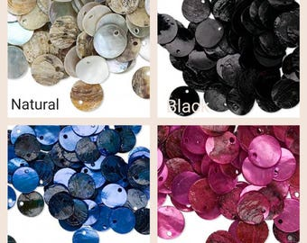 mussel shell drop beads, 100 mussel shell drop beads flat round 15mm, mussel shell drop 100 beads 15mm flat round, flar round mussel shell.