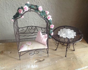 Romantic garden Furnitureset made of metal in scale 1:12 for the doll house