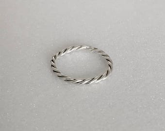 Sterling Silver Twist Stacking Ring.
