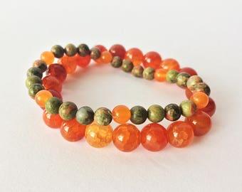 Orange Beaded Stretch Bracelets