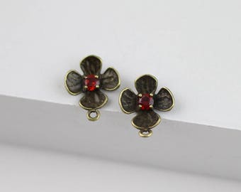 4pcs Antique Bronze Flower Connectors Findings 10x13mm