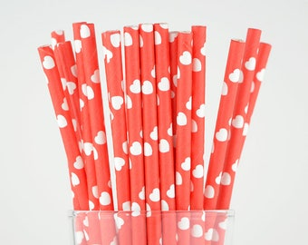 Red Hearts Paper Straws - Party Decor Supply - Cake Pop Sticks - Party Favor