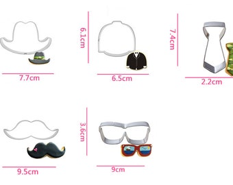 Gentleman Cookie Cutters- Hat/ Suit/ Tie/ Moustache/ Glasses - Fondant Biscuit Mold - Pastry Baking Tool Set