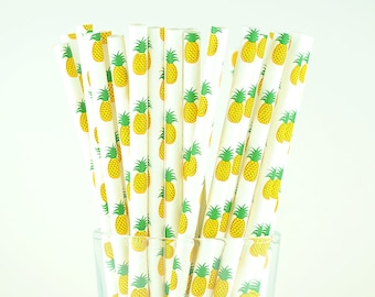 Pineapple Fruit Paper Straws - Mason Jar Straws - Party Decor Supply - Cake Pop Sticks - Party Favor