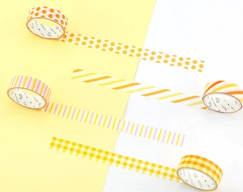 Set of 4 Rolls Yellow Striped/Dots/Checkered Washi Tape - 15mm x 7m - Gift Wrapping - Decorative Tape - Scrapbooking Sticker