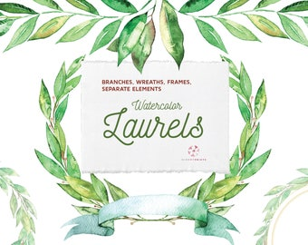 Watercolor Laurels, Leaves and Wreaths, watercolor Laurels clip art, hand painted, watercolour clip art, wedding clip art, wedding graphics