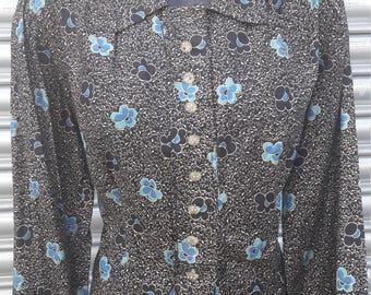 1940s black patterned blouse