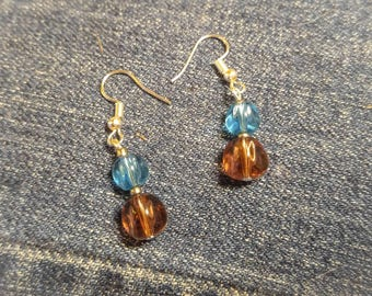 Blue and Smoky Lavender glass drop earrings