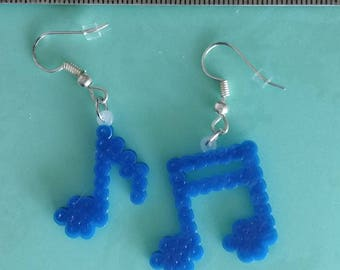Blue Music Note Mini Perler Bead Earrings