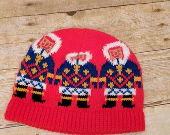 Vintage Eskimo Winter Hat and Scarf Red Blue Yellow