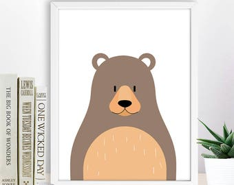 Kid Room Decor, Bear, Nursery Animal Print, Cute Animal illustration, Printable Wall Decor, Instant Download Digital Art, Baby room