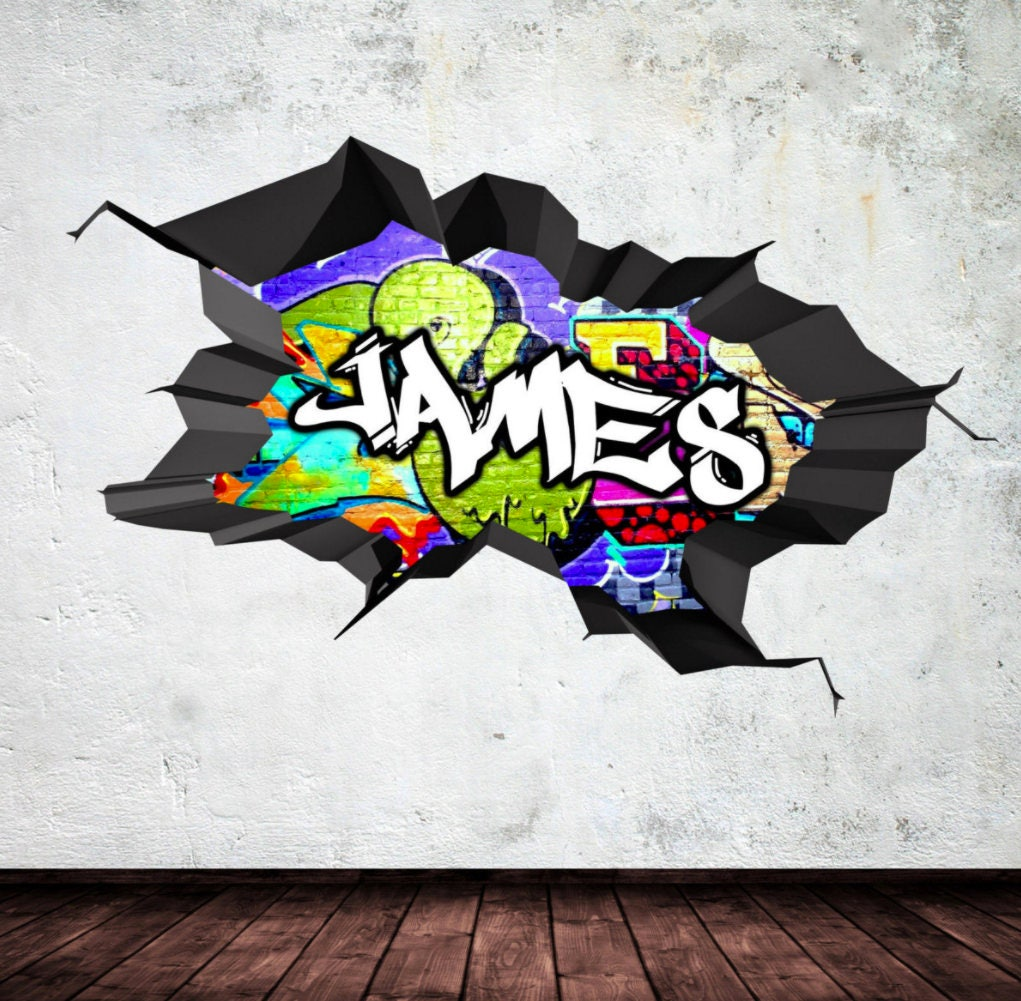 Elegant Personalized Name Full Color Graffiti Wall Decals Cracked 3d Wall Sticker  Mural Decal Graphic Wall Art