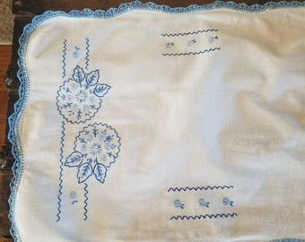 Vintage 1940s Blue and White Floral Dresser Scarf Home Decor Gift