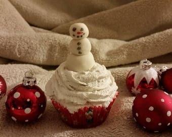 Bath Bomb Cupcake, Christmas Cupcake, Premium Bath Bomb, Secret Santa, White Elephant, Snowman Cupcake, Free Shipping, Mad in USA