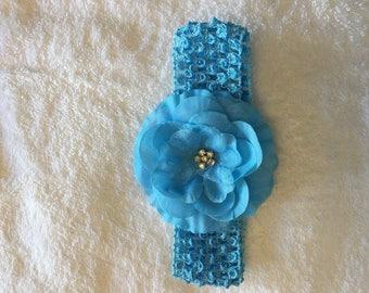Infant/Toddler Blue Crochet Floral Headband