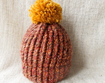 Baby hat//1 year old//Orange red yellow//