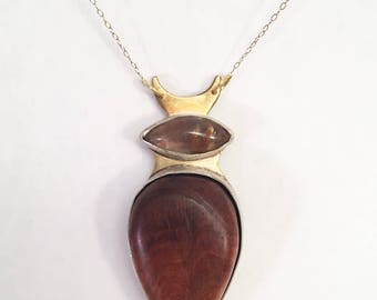 Cherry Burl Rutilated Quartz Pendant