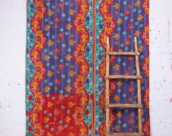 Vintage Hand Quilted, Patchwork, Ajrakh Block Print,  Kantha Quilt, Throw, Bedspread Bangali Gudri(JTH-BPN-5)