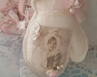 Vintage Mitten Hanger Pink Shabby Chic Mitten Ornament Vintage Images Girl with Fur Hood with Pearls and Roses Lavender Sachet Vintage Laces