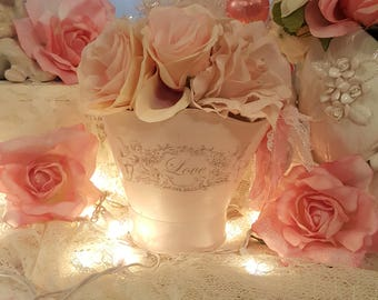 Romantic Shabby Chic Pink Metal Bucket Vintage Cherubs Love Painted Metal Container Pink Heart Roses Basket Vintage Lace and Ribbons