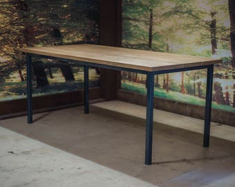Oak & Steel Dining Table / Kitchen Table / Conference Table.  Modern,industrial