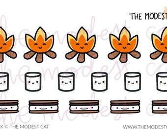 Campfire Marshmallow Smores - Mini Sheet - Hand Drawn Deco Stickers