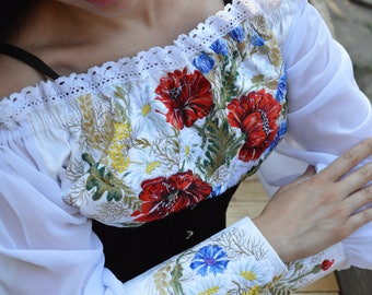 "Vyshivanka""maki in Vasilkah"" blouse embroidery poppies"