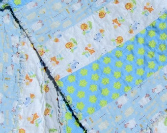 Turtle Sheep Jungle Flannel Rag Baby Blanket Blue Cuddle Throw Rag Quilt Free Shipping in US
