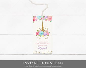 INSTANT DOWNLOAD / Dreaming Unicorn Favor Tag | Printable Digital File | Hang Tags, Thank You Tag, Gift Tags - Magical Birthday | DC002