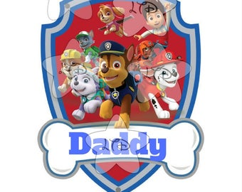 Paw Patrol Daddy Of The Birthday Boy Iron On Transfer