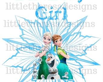 Anna,Elsa and Olaf Birthday Girl Transfer,Mom of the Birthday Girl,Dad of the Birthday Girl,Digital Transfer,Digital Iron On,DIY