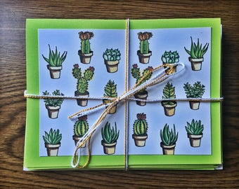 Set of 10 Cacti and Succulent Greeting Cards with Envelopes
