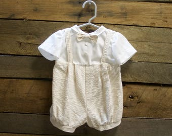 Vintage Inspired Baby Boy Bodysuit and newsboy hat- Baptismal Outfit-Christening Outfit-Bautizo- boys suspenders outfit- Seersucker bodysuit