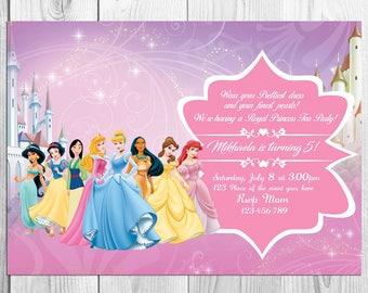 Disney Princesses Tea Party, Disney Princesses Tea Birthday, Disney Princesses Tea Invitation, Disney Princesses Tea Card