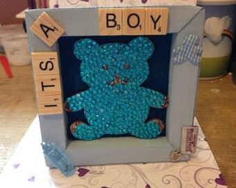 Harris tweed mini frame its a boy 5.5ins x 5.5ins