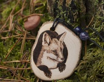 Pyrography wood fox necklace. Wood jewelry fox lover gift. Fox animal art pendant. Fox jewellery animal lover gift  Woodland animal necklace