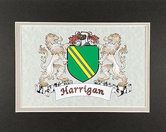 "Harrigan Irish Coat of Arms Print - Frameable 9"" x 12"""