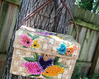 1960's Vintage Wicker Purse with Colorful Flowers