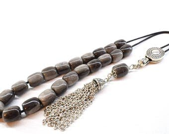 Grey Obsidian Komboloi, Silver tone Tassel, Worry Beads, Greek Komboloi, Obsidian Gemstone, Tube Shape Beads, Made in Greece, Tesbih, Gift