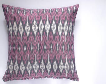 decorative pillow | 16x26 | 20x20 | 26x26 | grey pink white | throw pillow | cushion cover | ikat | pillow cover | home decor | gift | woven