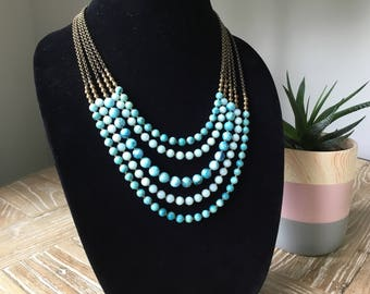 Hemimorphite Five Strand Necklace, Blue Multi Strand Necklace