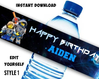 INSTANT DOWNLOAD - Lego Water Bottle Label, Lego Nexo Knigts Bottle Labels, Lego Nexo Knights Birthday, Lego Nexo Knights Party