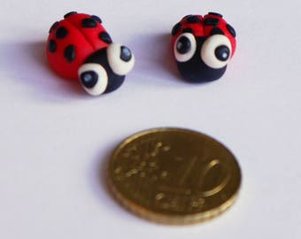 Small Ladybugs Pair Polymer Clay