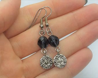 Blue Denim Dangle Earrings (Pierced or Clip-On)