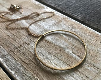 Gold Circle Necklace / Open Circle Necklace / Minimal Circle Necklace / Dainty Gold Necklace / Minimal Everyday Necklace / Karma Necklace