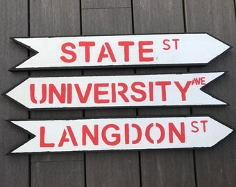 Madison Wisconsin wooden arrow street signs