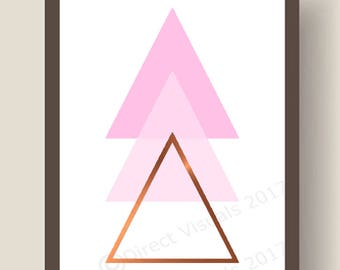 Pink, Pale Pink And  Rose Gold Triangles Wall Art Print