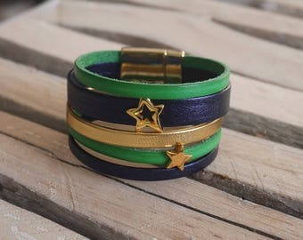 SALE Navy blue leather Cuff Bracelet, bright green and gold with gold stars (BR14) loops